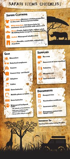 A Safari Packing Checklist of items to bring with you on your next animal adventure. Infographic
