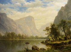 """""""Mirror Lake, Yosemite Valley,"""" Albert Bierstadt, oil on canvas, 21 x 30 Santa Barbara Museum of Art. Yosemite National Park, National Parks, Santa Barbara Museum, Albert Bierstadt, Mirror Lake, Lake Art, Yosemite Valley, Cool Posters, Landscape Paintings"""