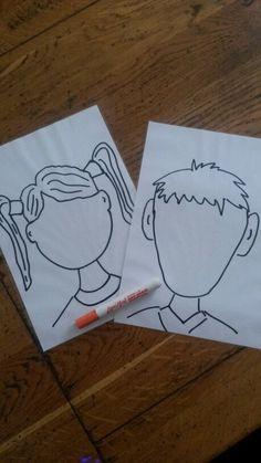 Met uitwisbare stift gezichtjes in laten tekenen. Ben ik blij boos bang of verdrietig. De blaadjes zijn gelamineerd dus elke keer zuiver te maken