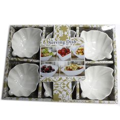 Set of Six Leaf Shape Olive Dishes # Kitchenware, Tableware, Dish Sets, Leaf Shapes, Shape Design, Serving Dishes, White Ceramics, Tropical, Leaves