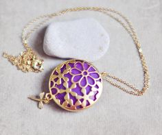 spring fashion necklace with LARGE  purple stone pendant in golden flower lace unique frame  sweet dragonfly long chain. $44.00, via Etsy.