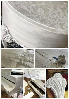 Annie Sloan Chalk Paint Custom Bespoke Painted Piano in Pure White, Paris Gray Wash, Clear and Black Wax, Pearl Plaster in Royal Design Lisabetta Stencil by verdigreen