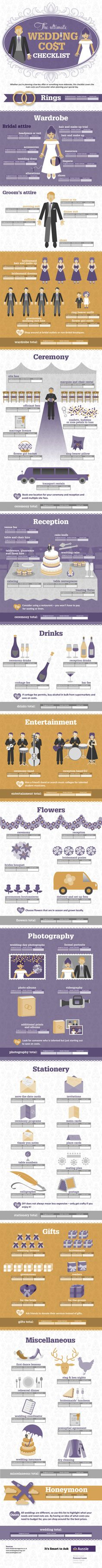 wedding cost checklist! I had no idea there was this much stuff involved...