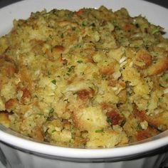 My mom is 91 years old now, but through the years, when I was a kid, the best thing about Thanksgiving was the stuffing. Hers was the best I ever ate. Loaded with flavor and completely delicious. When I got married and started my own family, I made sure I had this recipe in my recipe box. I've used it all my life.