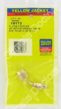 """Yellow Jacket 19173 5/16″ Female Quick Couplers x 1/4″ Male Flare           $ 10.90 Tools & Equipment Product Features Female coupler end has deep knurling for easy handling Patented CH14 """"adjust-a-valve"""" opener in all 1/4″ female ends Female Quick Coupler Tools & Equipment Product Description All couplers have Schrader valve cores in male flare end.  http://www.liveautomotive.com/yellow-jacket-19173-516-female-quick-couplers-x-14-male-flare/"""