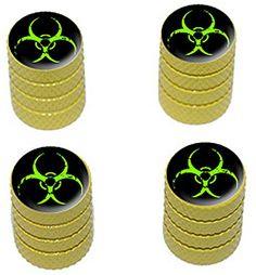 "(4 Count) Cool + Custom ""Diamond Etching Green Biohazard Symbol Top with Easy Grip Texture"" Tire Wheel Rim Air Valve Stem Dust Cap Seal Made of Genuine Anodized Aluminum Metal {Yellow + Black Colors} mySimple Products http://www.amazon.com/dp/B013FFNB6G/ref=cm_sw_r_pi_dp_8szGwb0G9V105"