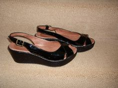 be92138cfe LADIES HOBBS BLACK PATENT LEATHER WEDGE SANDALS, SIZE 5, IN EXCELLENT  CONDITION | eBay
