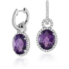Blue Nile Amethyst and White Sapphire Halo Oval Drop Earrings (715 CAD) ❤ liked on Polyvore featuring jewelry, earrings, round drop earrings, blue nile jewelry, oval earrings, earring jewelry and amethyst earrings