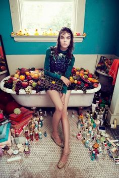 """Obsess"": Meghan Collison as a Collector/Hoarder of Kitsch by Sofia Sanchez & Mauro Mongiello for Numéro China #44 November 2014"