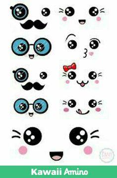 16 Ideas Drawing Kawaii Facial Expressions For 2019 Griffonnages Kawaii, Arte Do Kawaii, Kawaii Room, Kawaii Drawings, Easy Drawings, Doodle Art, Doodles Kawaii, Art Mignon, Diy And Crafts