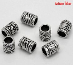 Antique Silver Carved Tube Spacer Beads for by CharmingTreasures2, $0.23
