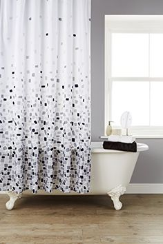 From 4.99 Vibrant Mosaic Grey On A White Background Polyester Shower Curtain Including 12 Grey Shower Curtain Rings By Waterline