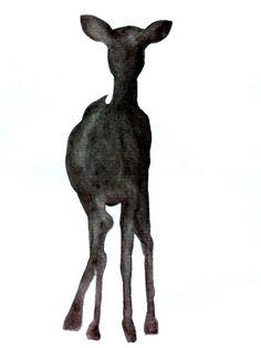 Smokey Black Doe A Deer Print of Original Watercolor by TribalInk