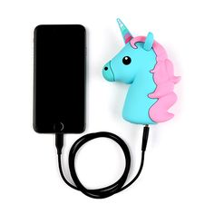 Pink And Blue Unicorn Emoji Portable Charger