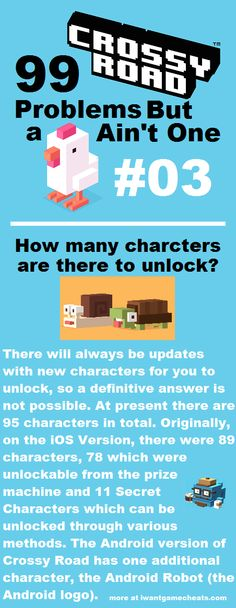 Crossy Road - 99 Problems But a Chick Ain't One - 03 - How many characters are there to unlock? - iwantgamecheats.com