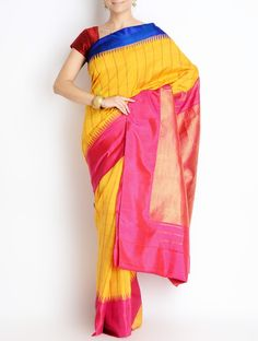 Buy Golden Multi Color Silk Zari Border Gadwal Saree Grandeur Cotton Sarees of Andhra Pradesh Online at Jaypore.com