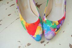 Vintage FLORAL FABRIC Heelssize 65 womensfancy heels por retroandme, $42.00