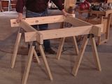 """Think this would be better incorporated into one of the adjustable sawhorse plans above especially given their use of the old fashioned stamped metal sawhorse hinges. """"Sawhorse worktable by DIY Network"""" Barn Storage, Workshop Storage, Workshop Organization, Diy Workshop, Garage Workshop, Sawhorse Plans, Diy Sawhorse, Diy Projects To Try, Home Projects"""