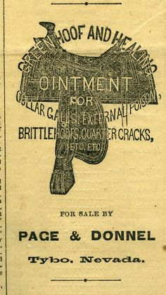 1879 advertisement for horse ointment in the Tybo [Nevada] Weekly Sun. MS 141.