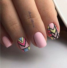 Pin by Magda Calderón on uñas in 2019 Chic Nails, Stylish Nails, Love Nails, Pretty Nails, Fun Nails, Nail Art Tribal, Nail Art Designs, Sparkly Nails, Manicure And Pedicure