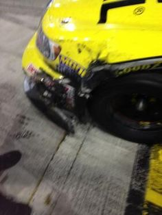 Not a scratch on the truck racing hard n clean with other drivers all night. Then Cale gets to Kyle n does this to win
