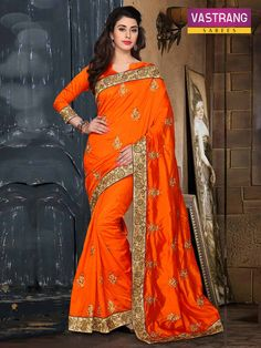 Orange Pure Silk Saree with Embroidery & Patch work