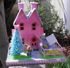 Easter Glitter Putz Double A House by WinterVillageCrafts, $21.00