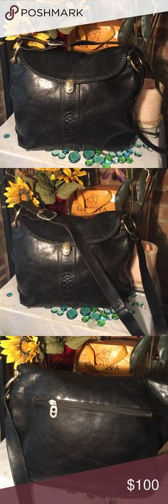 💋💄SALE💋💄Marino Orlandi Leather Bag Sz 12x4x16- 20' adjustable strap- Jet blk- Genuine leather- Leather monogram interior- Made in Italy- Great condition- Gorgeous bag! Marino Orlandi Bags Shoulder Bags