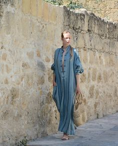 ANAIS linen dress. Steel blue striped ONE SIZE caftan for