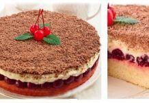 Tort Monica cu cirese si mascarpone No Cook Desserts, Sweet Desserts, Just Desserts, Russian Desserts, Russian Recipes, Dessert Bread, Dessert Bars, Food Cakes, Cupcake Cakes
