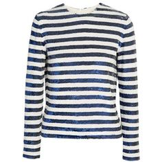 Ashish Sequined striped silk-georgette top