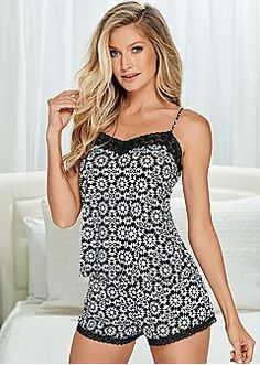 Medallion print short set from VENUS women's swimwear and sexy clothing. Order Medallion print short set for women from the online catalog or Cute Sleepwear, Sleepwear Women, Lingerie Sleepwear, Nightwear, Sexy Pyjamas, Cute Pajamas, Pajama Outfits, Cute Outfits, Cotton Shorts Women