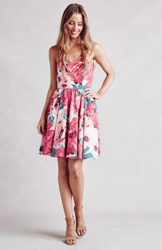 Paper Crown flirty cotton floral dress with sweetheart neckline designed by Lauren Conrad. Made in the USA.