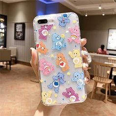 Cartoon Cute Rainbow Bear Phone Case for iPhone 11 Pro X XS Max Xr 8 7 6 s Plus INS Anime Cares Bears Clear Soft Cover Coque (1, iPhone 7 8 Plus)