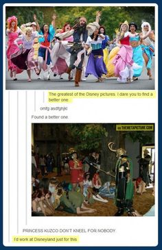 This is unbelievably good. Kuzco won't kneel for anyone! ...even though these people are dumb & that's clearly not at the parks... Dreamworks, Disney Pixar