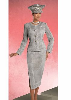 b7d709f35b1 Donna Vinci 5624 Embellished Skirt Suit With Textured Effect