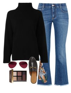 """princetowns and embroidered denim"" by polyvore-prep on Polyvore featuring STELLA McCARTNEY, Emporio Armani, Gucci, Ray-Ban and Bobbi Brown Cosmetics"