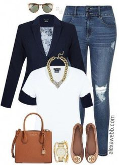 Size Navy Blazer Outfit Plus Size Distressed Jeans Outfit - Plus Size Fashion for Women - Plus Size Distressed Jeans Outfit - Plus Size Fashion for Women - Distressed Jeans Outfit, Plus Size Distressed Jeans, Navy Blazer Outfits, Look Blazer, Casual Outfits, Family Outfits, Classy Outfits, Curvy Fashion, Look Fashion