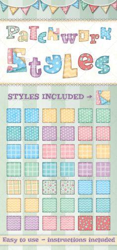 Patchwork Text Styles - Styles Illustrator
