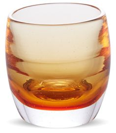 glassybaby in Whiskey - I love these, they can be used as candleholders or glasses. The company was founded by a cancer survivor, and the company gives back 10% of sales to charities. @glassybaby