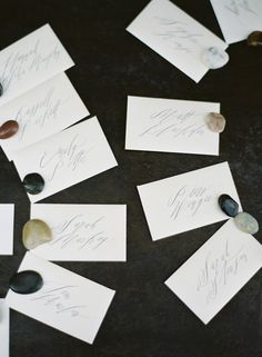 Calligraphy stones...beautiful idea for place cards...setting the table!