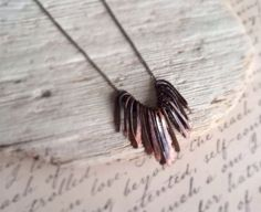 Silver Statement Necklace Copper Fringe by ThePurpleSquirrels, $52.00