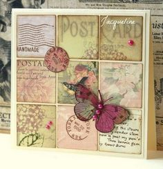 INSPIRATION: inchie grid 3x3 Pretty Cards, Cute Cards, Cards Diy, Butterfly Cards, Card Tags, Paper Cards, Creative Cards, Vintage Cards, Greeting Cards Handmade