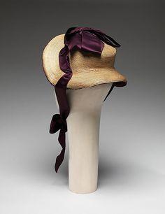 1899 woman's hat | 1882 ... Promenade Bonnet ... straw  silk ... Diameter (crown): 4.75 ...