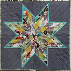 "Quilter: Scrappy-lonestar-quilt (Janice) ~ ""I made this lone star from Jay McCarroll's Center City line. The fabrics look really great in a scrappy design.  There is a lot of contrast in both color and prints. Liz at Sew Modern picked them out, so I can't take credit, but I am digging the palette!"" ~ I ♥ Jay McCarroll! (Project Runway, Season 1 - fashion & fabric designer!) ~ ♥"
