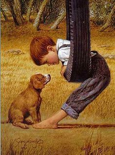 Eye to Eye by Jim Daly (This has a Norman Rockwell look to it.) Reminds me of my boys. Norman Rockwell Art, Illustration Art, Illustrations, Tier Fotos, Pics Art, Art Pictures, Dog Art, Beautiful Paintings, Beautiful Images