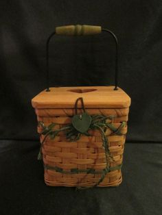 WOVEN BASKET & WOOD TISSUE BOX COVER - Heart Cut-Out on Lid, Wrought Iron Handle #Unbranded $17.99