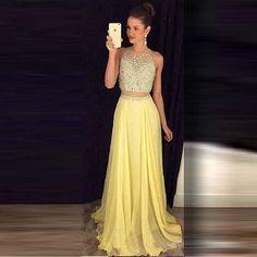 dress two-piece prom dress prom long dress long prom dress yellow dress glitter sparkle two piece prom dresses Stunning Prom Dresses, Prom Dresses 2016, Prom Party Dresses, Party Gowns, Dress Prom, Barbie Dress, Quinceanera Dresses, Dresses Uk, Cheap Dresses