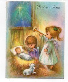Vintage Select Christmas Greeting Card Adorable Angel Girls Baby Jesus Glitter