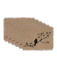 Take a look at this For the Birds Burlap Printed Place Mat - Set of Six today!
